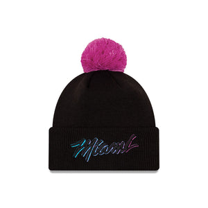 Miami Heat City Edition Wordmark Pom Knit NBA Beanie