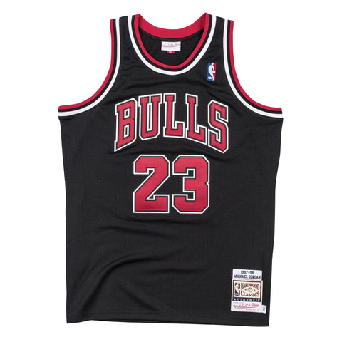 6700f5fd2f49 MICHAEL JORDAN CHICAGO BULLS PREMIUM MITCHELL   NESS NBA 1997-98 BLACK AUTHENTIC  JERSEY