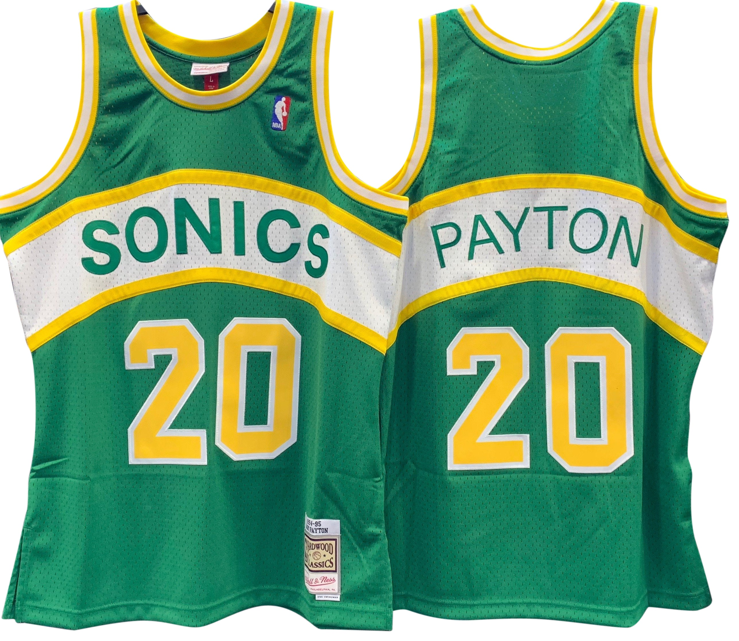 GARY PAYTON SEATTLE SUPERSONICS NBA HARDWOOD CLASSICS THROWBACK SWINGMAN JERSEY