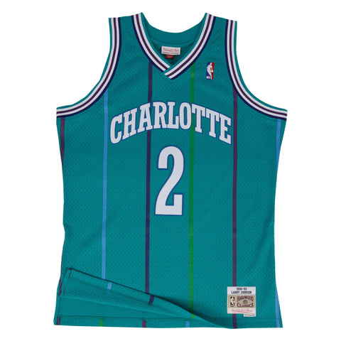 LARRY JOHNSON CHARLOTTE HORNETS NBA HARDWOOD CLASSICS THROWBACK SWINGMAN JERSEY