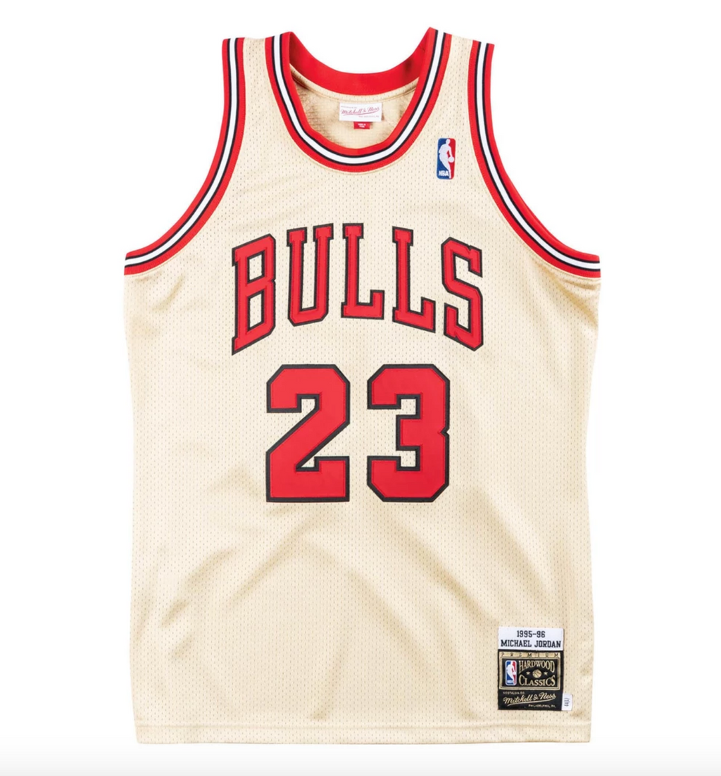 Michael Jordan Chicago Bulls Hardwood Classics Throwback 1995-96 NBA Gold Premium Authentic Jersey