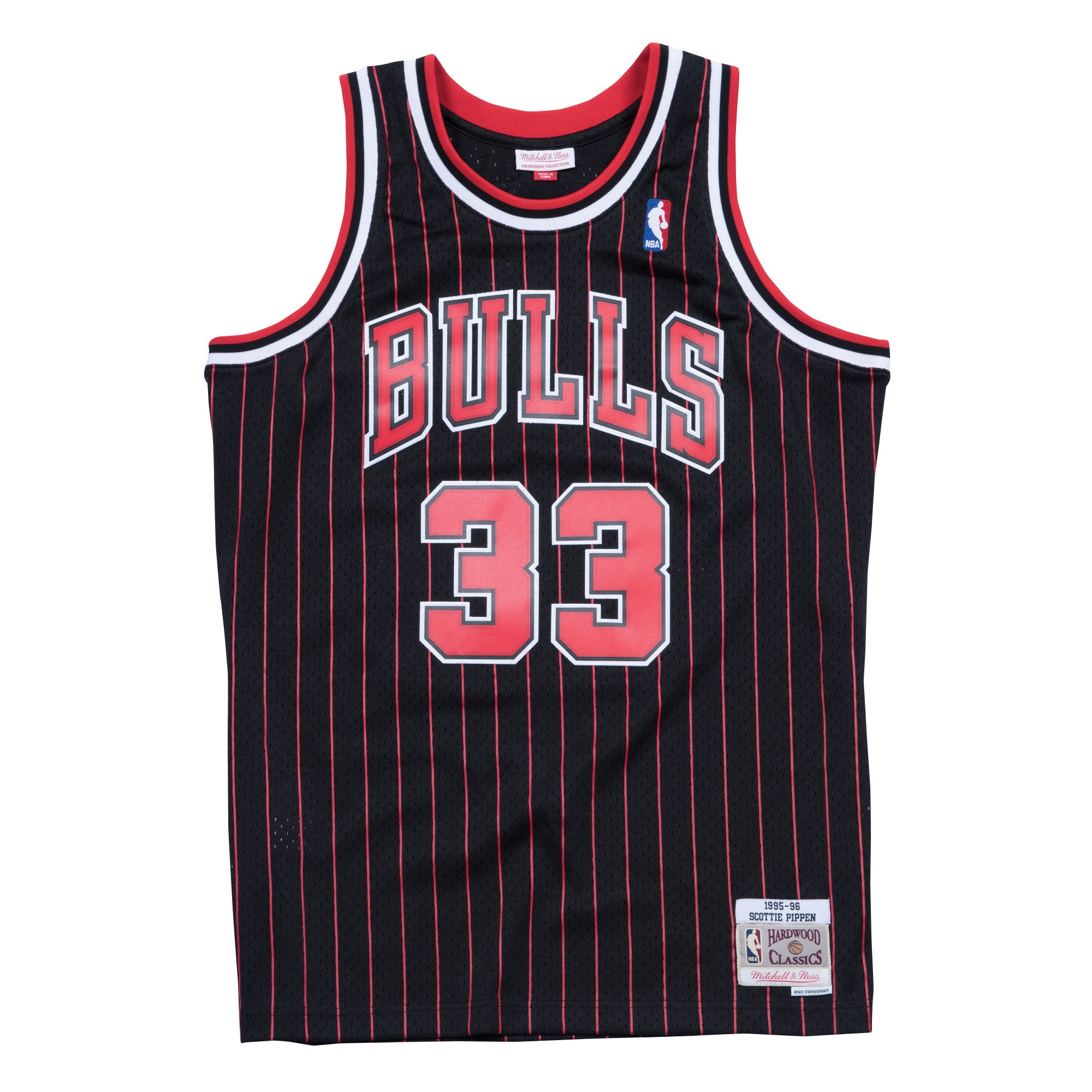 b6f33aafb00c SCOTTIE PIPPEN CHICAGO BULLS NBA HWC THROWBACK PINSTRIPE SWINGMAN JERS – Basketball  Jersey World