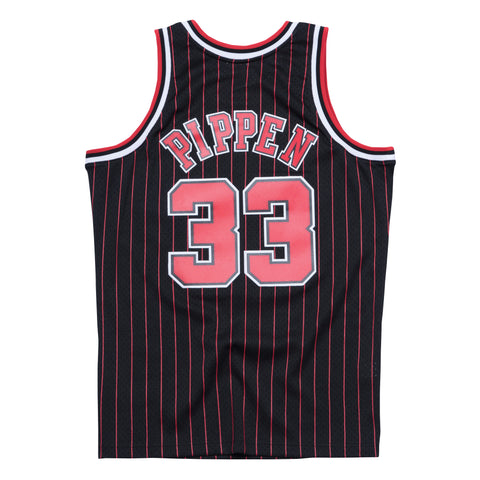 SCOTTIE PIPPEN CHICAGO BULLS NBA HWC THROWBACK PINSTRIPE SWINGMAN JERSEY