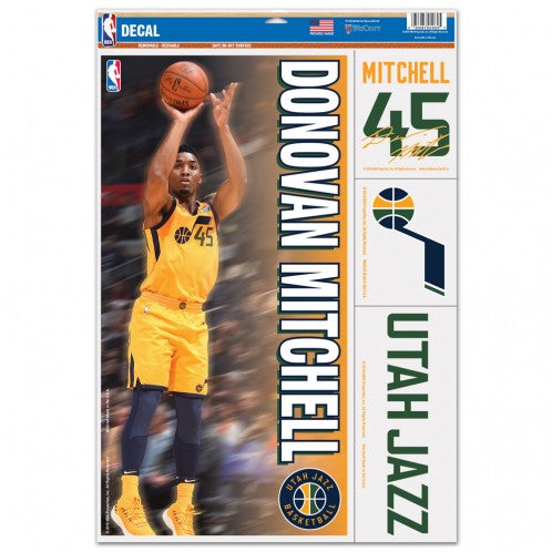 "Donovan Mitchell Utah Jazz Decal 11"" x 17"" Stickers"