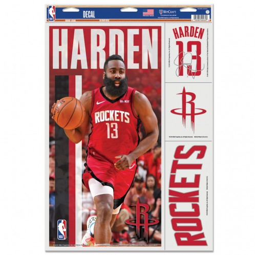 "James Harden Houston Rockets Decal 11"" x 17"" Stickers"
