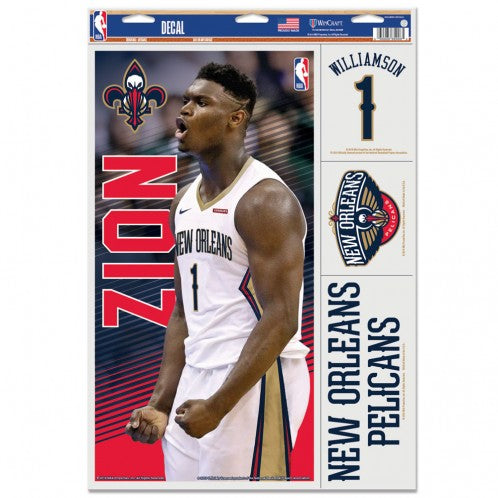 "Zion Williamson New Orleans Pelicans Decal 11"" x 17"" Stickers"