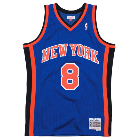 LATRELL SPREWELL NEW YORK KNICKS NBA HARDWOOD CLASSICS THROWBACK BLUE SWINGMAN JERSEY
