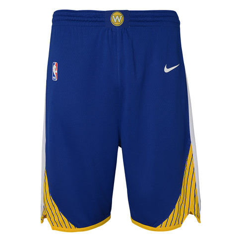 GOLDEN STATE WARRIORS NIKE NBA ICON EDITION YOUTH BLUE SWINGMAN SHORTS