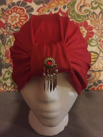 Red Satin Turban