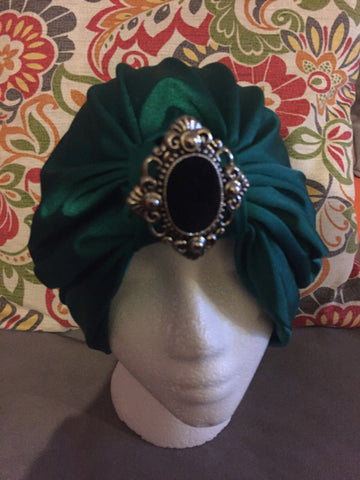 Green Satin Turban