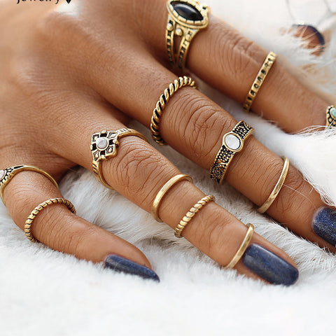 12pcs / sets Fashion Vintage Punk Midi Rings Boho Style