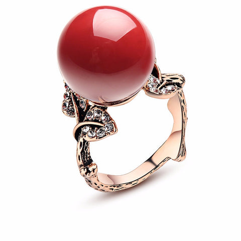 Coral Ring With Natural Stone