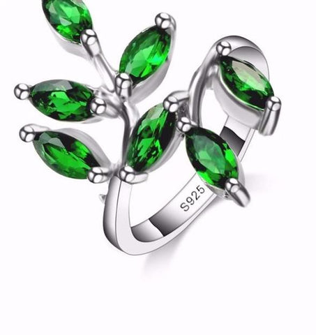 Beautiful Green Leaves 925 Sterling Silver Ring