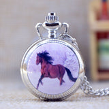 Silver Unicorn Quartz Pocket Watch with Mirror Case