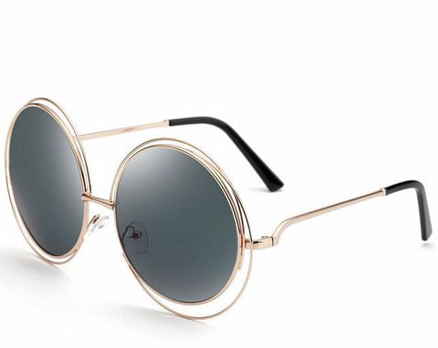 Oversized Mirror Round Sunglasses Vintage