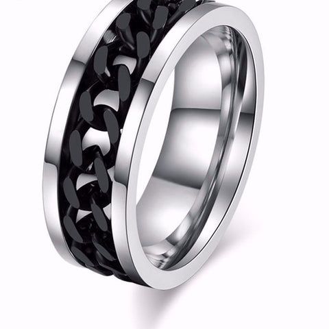 Stainless Steel Black Chain Spinner Ring