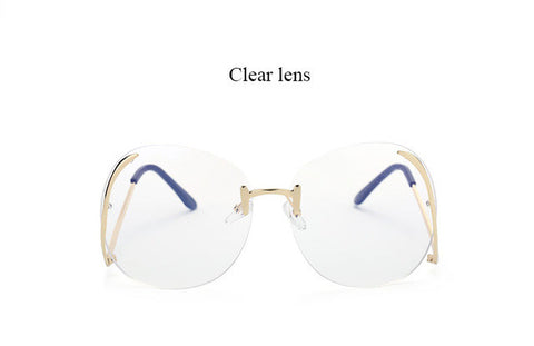 Elegant  Rimless Oversized Transparent Lens Sunglasses