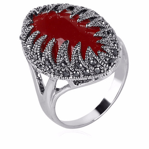 Red Stone Ring with Vintage Black Rhinestone