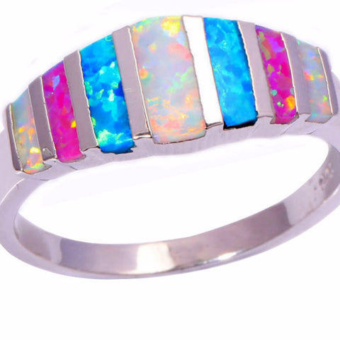 Pink Blue White Fire Opal Silver Plated Ring