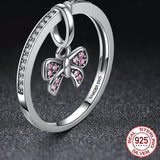 Lovely 925 Sterling Silver Pink Bow Knot Ring