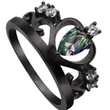 Black Gun Plated Elegant Crown Ring With AAA Cubic Zircon