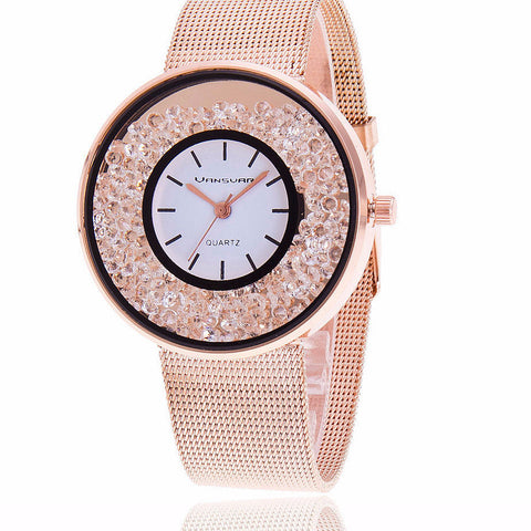 Stainless Steel Fashion Watch Gold & Silver Band Quartz