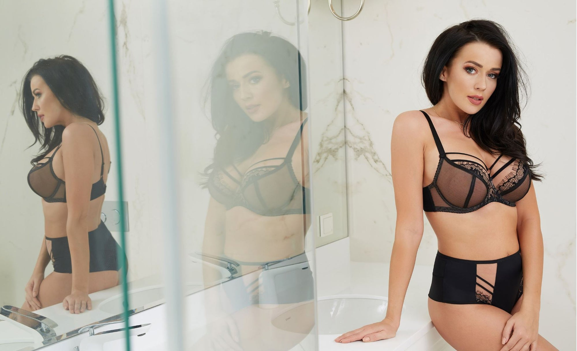 Sexy Sheer Plus Size Lingerie Black Set