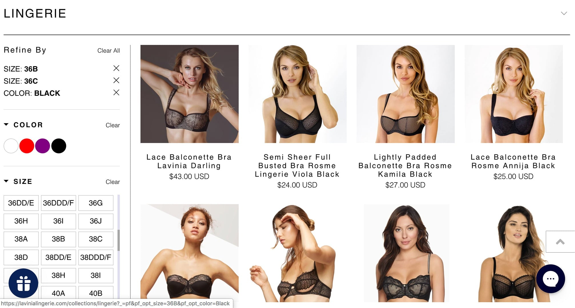 Lavinia Lingerie website filtering system for easy shopping