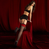 Sheer Back Seam Stockings Fiore Scarlet 20 Den