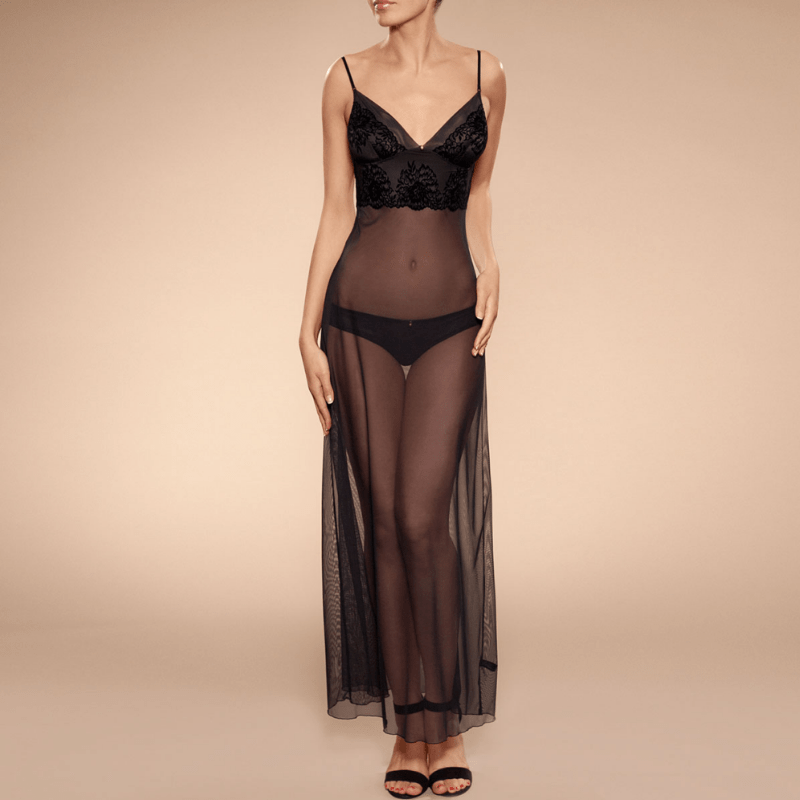 Sexy Sheer Mesh Long Nightgown Ajour Adagio Ajour Lingerie Nightgown