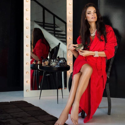 'Celestine' bath robe in red by Lauma
