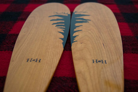 Custom Painted Beavertail Canoe Paddles - Blades with matching painted trees Hunter and Harris - Handmade in Ontario Canada