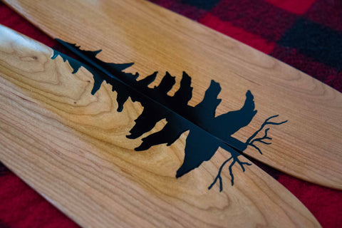 Custom Painted Beavertail Canoe Paddles - Blade with painted trees closeup - Hunter and Harris - Handmade in Ontario Canada