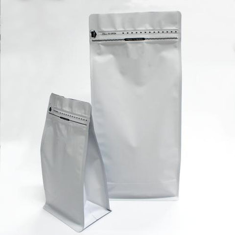 Matt White Flat Bottom Stand Up pouch with coffee valve