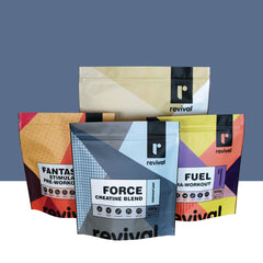 custom digital print packaging stand up pouch with zipper closure made in melbourne australia health food protein powder