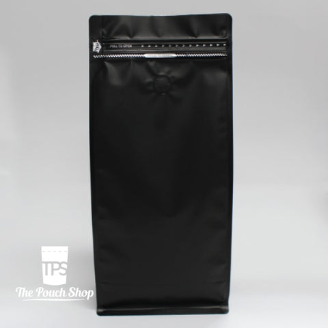1Kg Flat Bottom Coffee Bag With Front Zipper Closure- Matt Black. Black With Valve Pouch