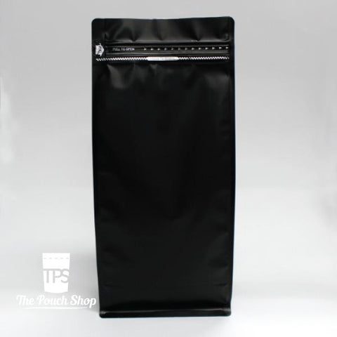 1kg Flat Bottom Coffee Bag with Front Zipper Closure- Matt Black.