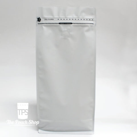 1Kg Flat Bottom Coffee Bag With Front Zipper Closure- Matt White. White With Valve. Pouch