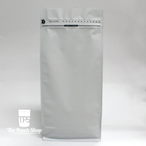 1Kg Flat Bottom Coffee Bag With Front Zipper Closure- Matt White. White Without Valve Pouch