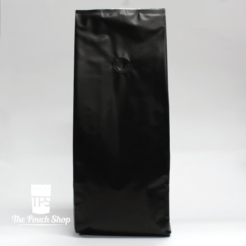 1Kg Side Gusset Coffee Bag With Valve- Matt Black.