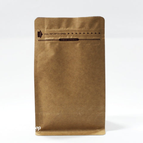 250G Flat Bottom Coffee Bag With Front Zipper Closure - Kraft Paper. Without Valve Pouch