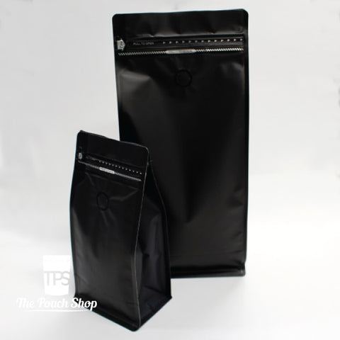 250G Flat Bottom Coffee Bag With Front Zipper- Matt Black. Pouch
