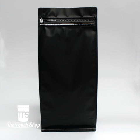 250G Flat Bottom Coffee Bag With Front Zipper- Matt Black. Black Without Valve Pouch