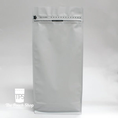 250g Flat Bottom Coffee Bag with Front Zipper- Matt White.