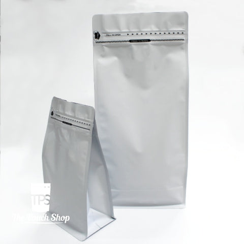 250G Flat Bottom Coffee Bag With Front Zipper- Matt White. Pouch