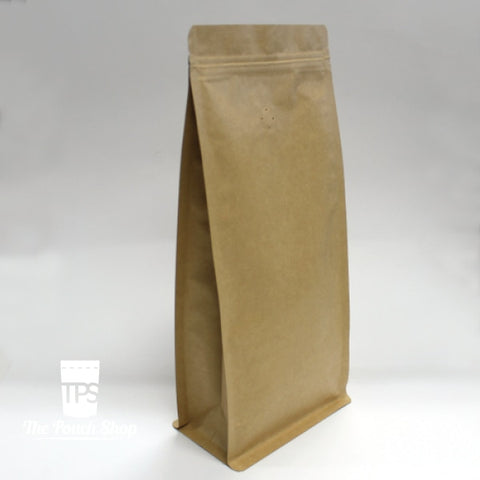 250G Flat Bottom Coffee Bag With Zipper Closure- Kraft Paper. With Valve Pouch