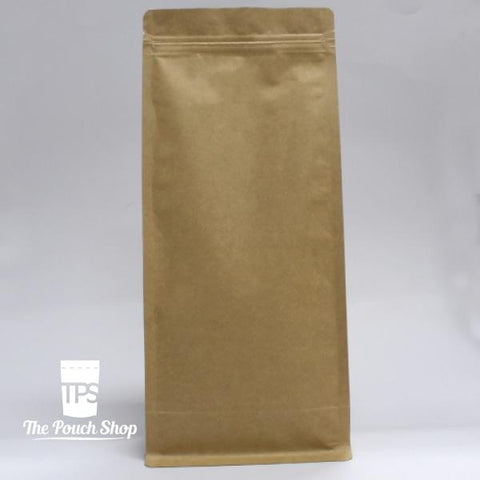 Flat Bottom Coffee Bag with Zipper Closure- Kraft Paper.