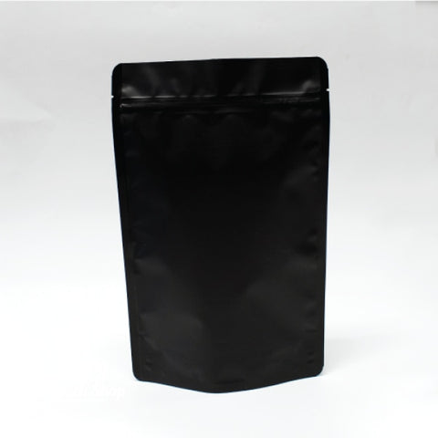 500G Stand Up Pouch With Zipper Closure- Matt Black White.