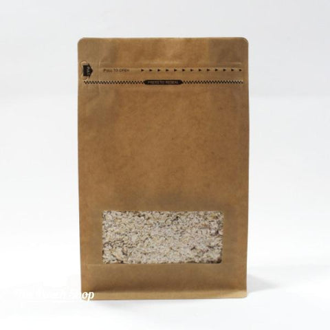 Flat Bottom Pouch With Front Zipper Closure and Square Window- Kraft Paper