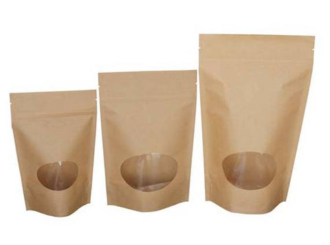 Stand Up Pouch with Oval Window- Kraft Paper